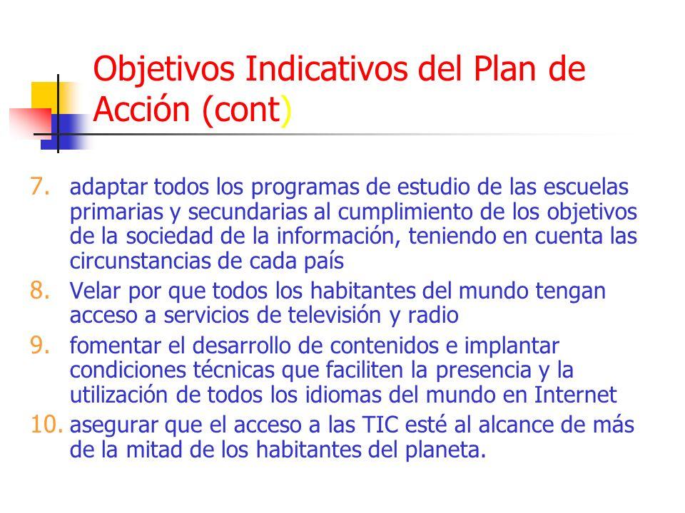 Objetivos Indicativos del Plan de Acción (cont) 7. adaptar todos los programas de estudio de las escuelas primarias y secundarias al cumplimiento de l