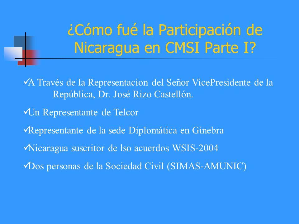 ¿Cómo fué la Participación de Nicaragua en CMSI Parte I? A Través de la Representacion del Señor VicePresidente de la República, Dr. José Rizo Castell