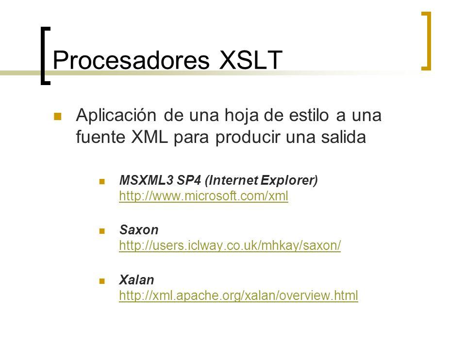Procesadores XSLT Aplicación de una hoja de estilo a una fuente XML para producir una salida MSXML3 SP4 (Internet Explorer) http://www.microsoft.com/x