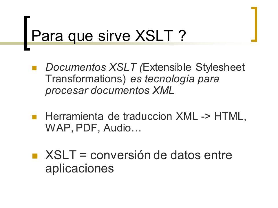 Para que sirve XSLT ? Documentos XSLT (Extensible Stylesheet Transformations) es tecnología para procesar documentos XML Herramienta de traduccion XML