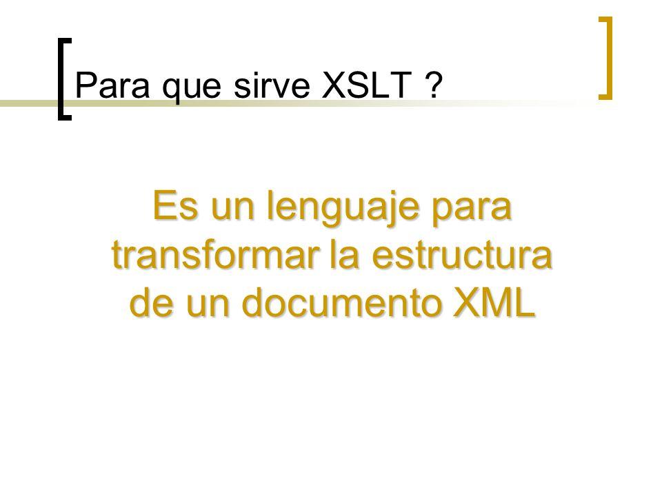 Transformación XSLT Transformacion estructural Formato (pdf, html, etc.)