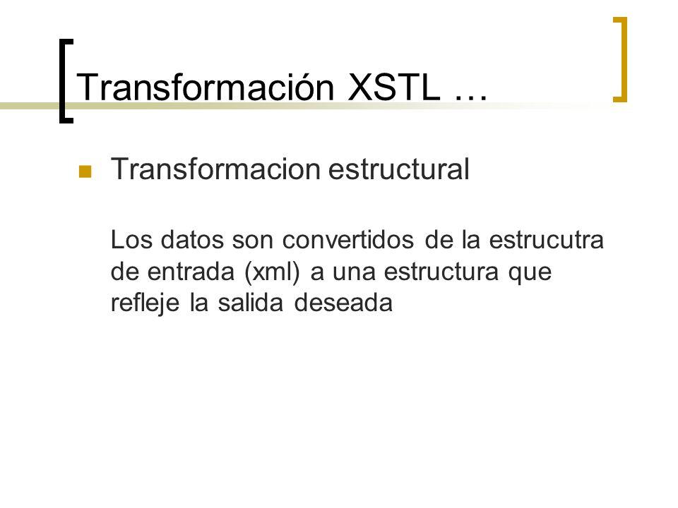 Transformación XSTL … Formato (pdf, html, etc.) La salida de datos, generados por la nueva estructura se entrega en el formato requerido (PDF, HTML,coma-delimitado)