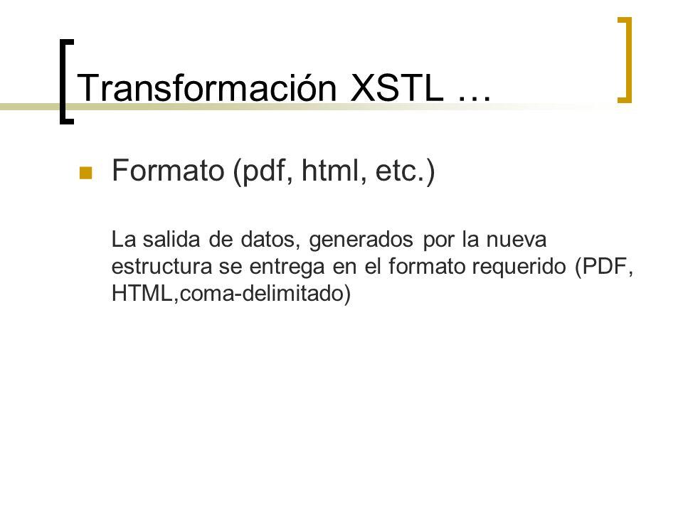 Transformación XSTL … Formato (pdf, html, etc.) La salida de datos, generados por la nueva estructura se entrega en el formato requerido (PDF, HTML,co