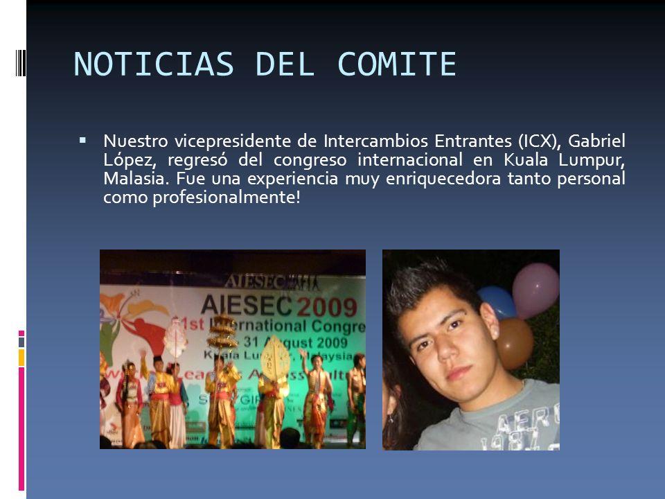 NOTICIAS DEL COMITE En el congreso internacional de Malasia, México recibió el premio UBS a mejor comité de la región de Iberoamérica superando a Puerto Rico y Colombia.