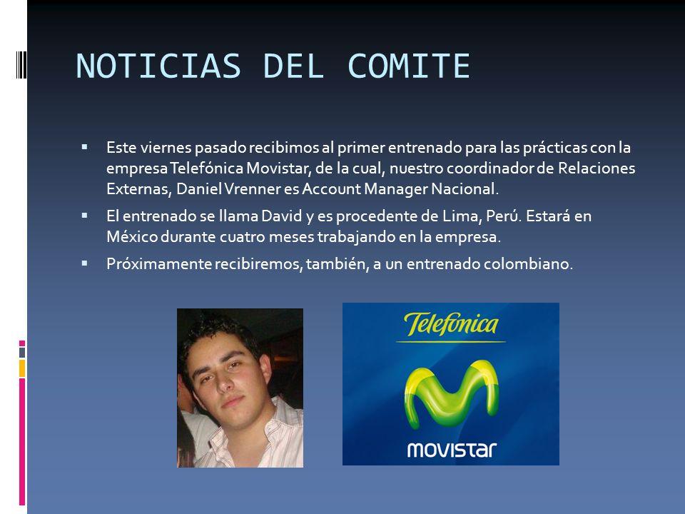 NOTICIAS DEL COMITE Este viernes pasado recibimos al primer entrenado para las prácticas con la empresa Telefónica Movistar, de la cual, nuestro coord