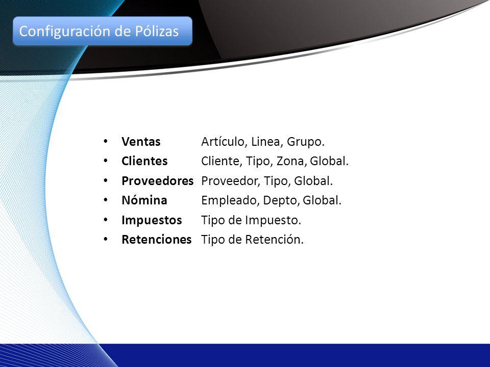 Ventas Artículo, Linea, Grupo. ClientesCliente, Tipo, Zona, Global.