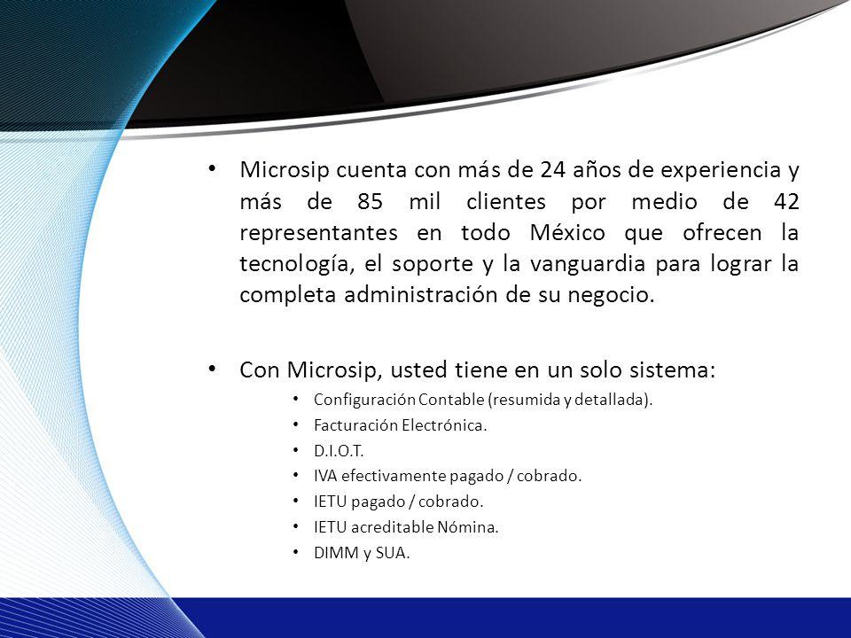Microsip cuenta con más de 24 años de experiencia y más de 85 mil clientes por medio de 42 representantes en todo México que ofrecen la tecnología, el soporte y la vanguardia para lograr la completa administración de su negocio.