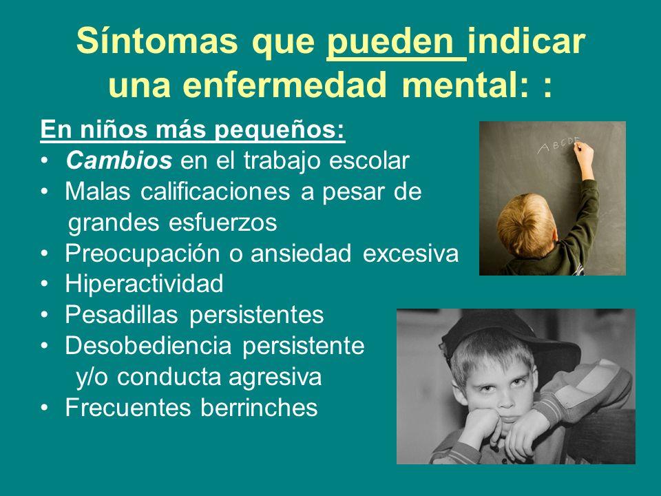 Síntomas que pueden indicar una enfermedad mental: : En niños más pequeños: Cambios en el trabajo escolar Malas calificaciones a pesar de grandes esfu