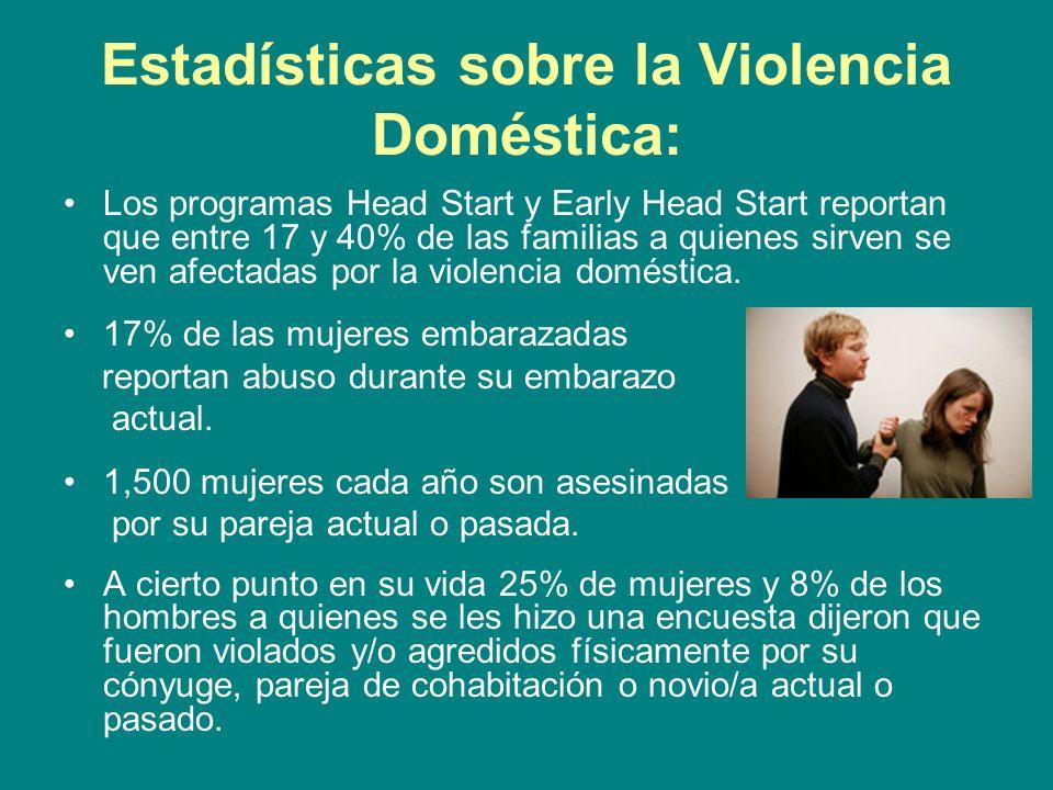 Estadísticas sobre la Violencia Doméstica: Los programas Head Start y Early Head Start reportan que entre 17 y 40% de las familias a quienes sirven se