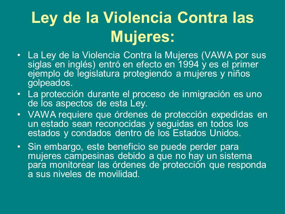 Ley de la Violencia Contra las Mujeres: La Ley de la Violencia Contra la Mujeres (VAWA por sus siglas en inglés) entró en efecto en 1994 y es el prime