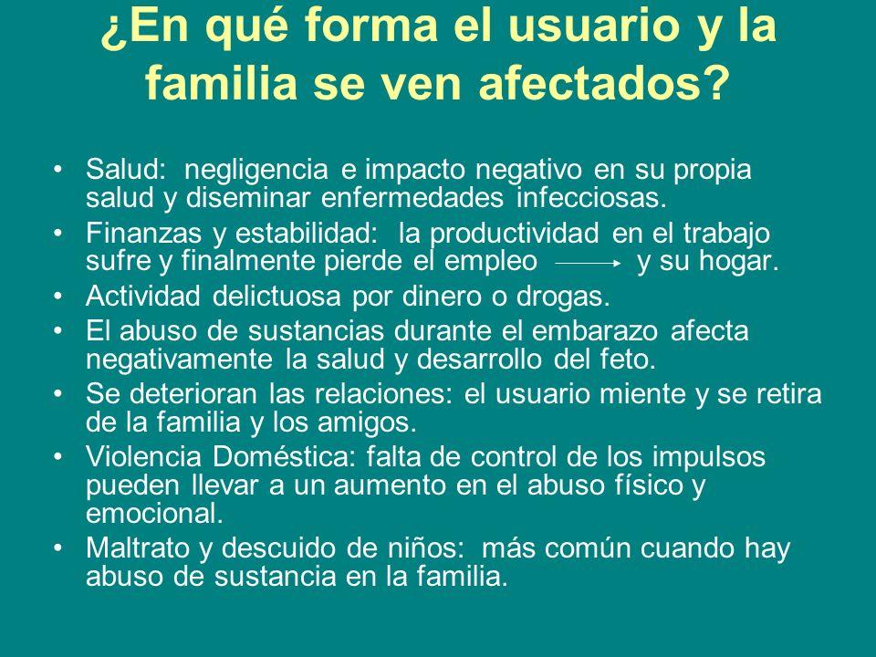 ¿En qué forma el usuario y la familia se ven afectados? Salud: negligencia e impacto negativo en su propia salud y diseminar enfermedades infecciosas.