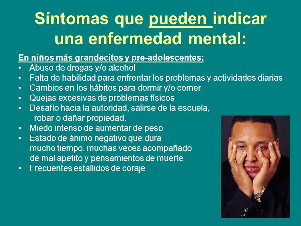 Síntomas que pueden indicar una enfermedad mental: En niños más grandecitos y pre-adolescentes: Abuso de drogas y/o alcohol Falta de habilidad para en