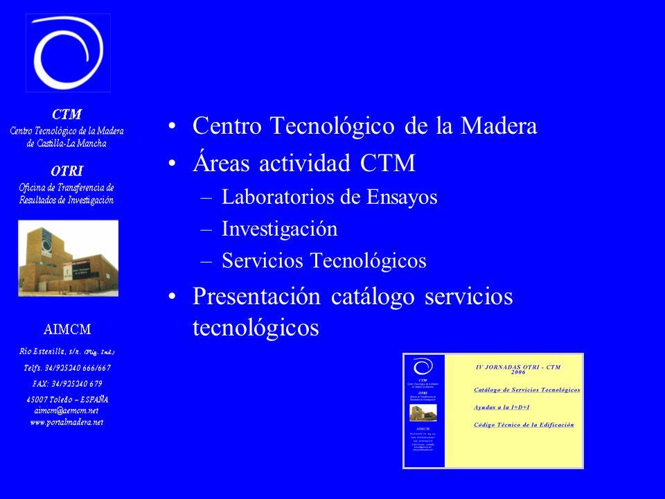 Centro Tecnológico de la Madera Áreas actividad CTM –Laboratorios de Ensayos –Investigación –Servicios Tecnológicos Presentación catálogo servicios tecnológicos