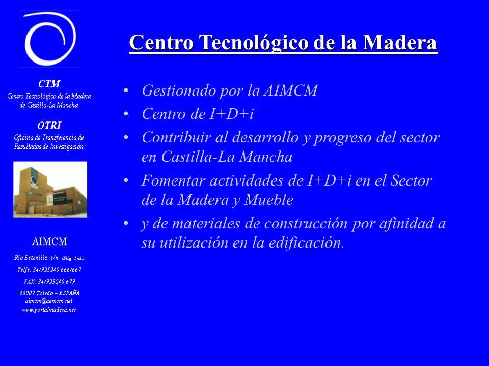 Centro Tecnológico de la Madera Gestionado por la AIMCM Centro de I+D+i Contribuir al desarrollo y progreso del sector en Castilla-La Mancha Fomentar actividades de I+D+i en el Sector de la Madera y Mueble y de materiales de construcción por afinidad a su utilización en la edificación.