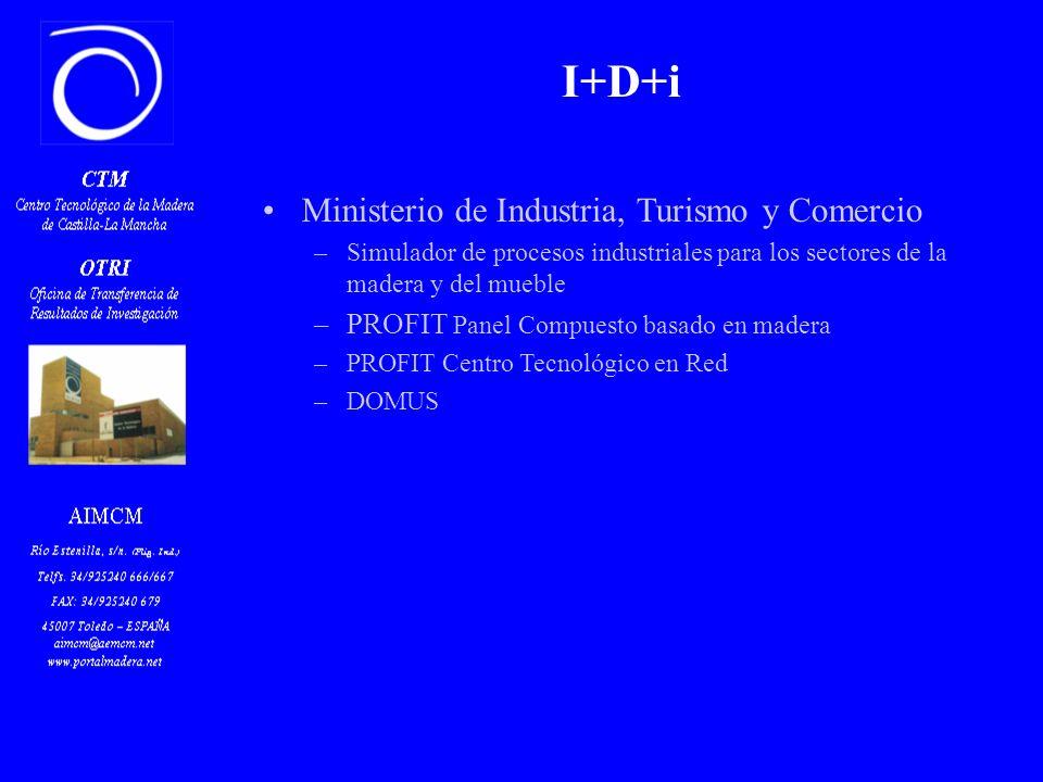 I+D+i Ministerio de Industria, Turismo y Comercio –Simulador de procesos industriales para los sectores de la madera y del mueble –PROFIT Panel Compuesto basado en madera –PROFIT Centro Tecnológico en Red –DOMUS