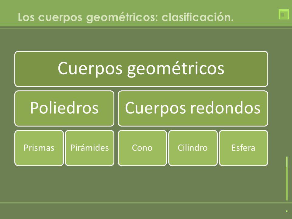 Los cuerpos geométricos: clasificación. Cuerpos geométricos Poliedros PrismasPirámides Cuerpos redondos ConoCilindroEsfera