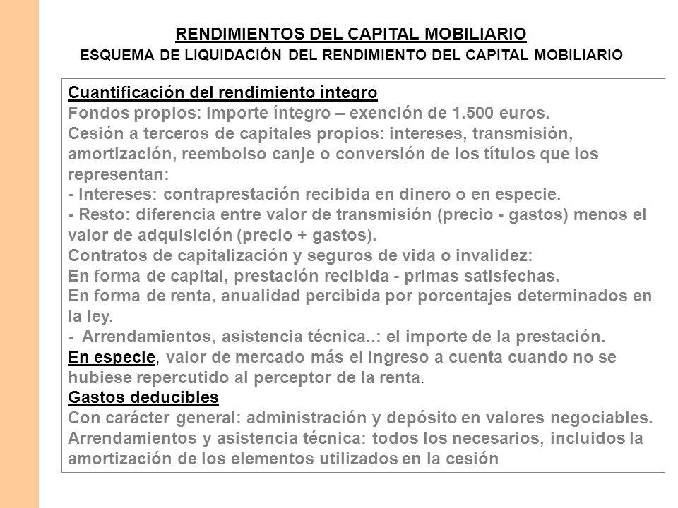 RENDIMIENTOS DEL CAPITAL MOBILIARIO ESQUEMA DE LIQUIDACIÓN DEL RENDIMIENTO DEL CAPITAL MOBILIARIO Cuantificación del rendimiento íntegro Fondos propio