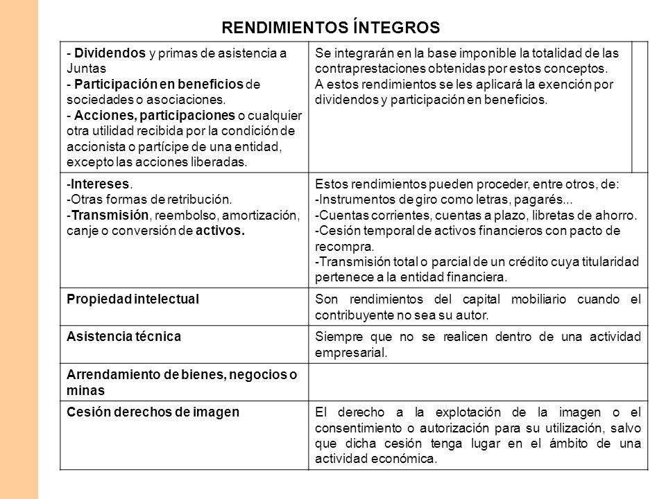 RENDIMIENTOS ÍNTEGROS - Dividendos y primas de asistencia a Juntas - Participación en beneficios de sociedades o asociaciones. - Acciones, participaci