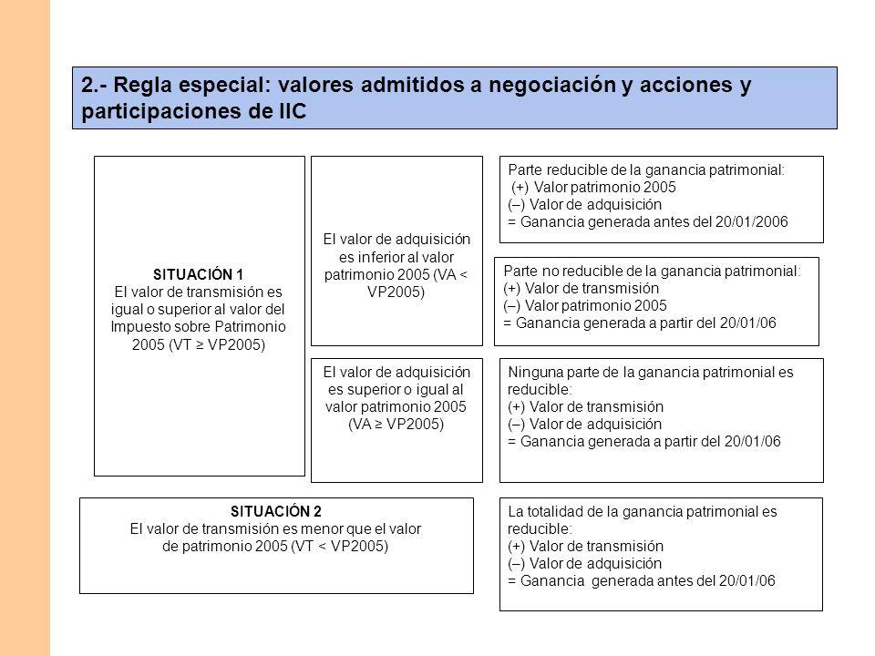 2.- Regla especial: valores admitidos a negociación y acciones y participaciones de IIC SITUACIÓN 1 El valor de transmisión es igual o superior al val