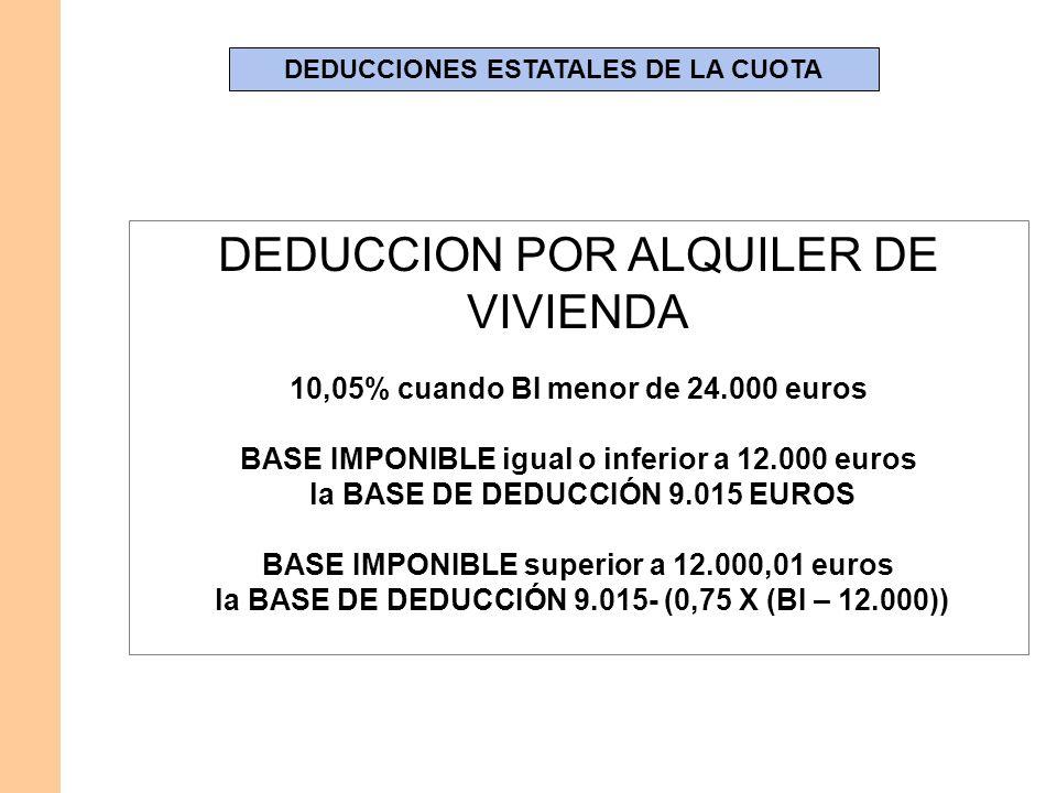 DEDUCCIONES ESTATALES DE LA CUOTA DEDUCCION POR ALQUILER DE VIVIENDA 10,05% cuando BI menor de 24.000 euros BASE IMPONIBLE igual o inferior a 12.000 e
