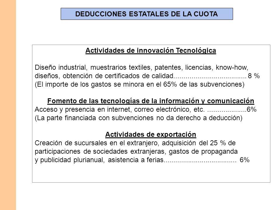 DEDUCCIONES ESTATALES DE LA CUOTA Actividades de innovación Tecnológica Diseño industrial, muestrarios textiles, patentes, licencias, know-how, diseño