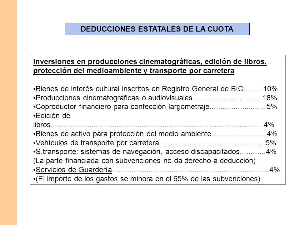 DEDUCCIONES ESTATALES DE LA CUOTA Inversiones en producciones cinematográficas, edición de libros, protección del medioambiente y transporte por carre