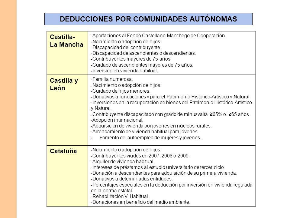 DEDUCCIONES POR COMUNIDADES AUTÓNOMAS Castilla- La Mancha - Aportaciones al Fondo Castellano-Manchego de Cooperación. - Nacimiento o adopción de hijos