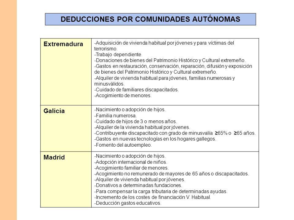 DEDUCCIONES POR COMUNIDADES AUTÓNOMAS Extremadura - Adquisición de vivienda habitual por jóvenes y para víctimas del terrorismo. - Trabajo dependiente