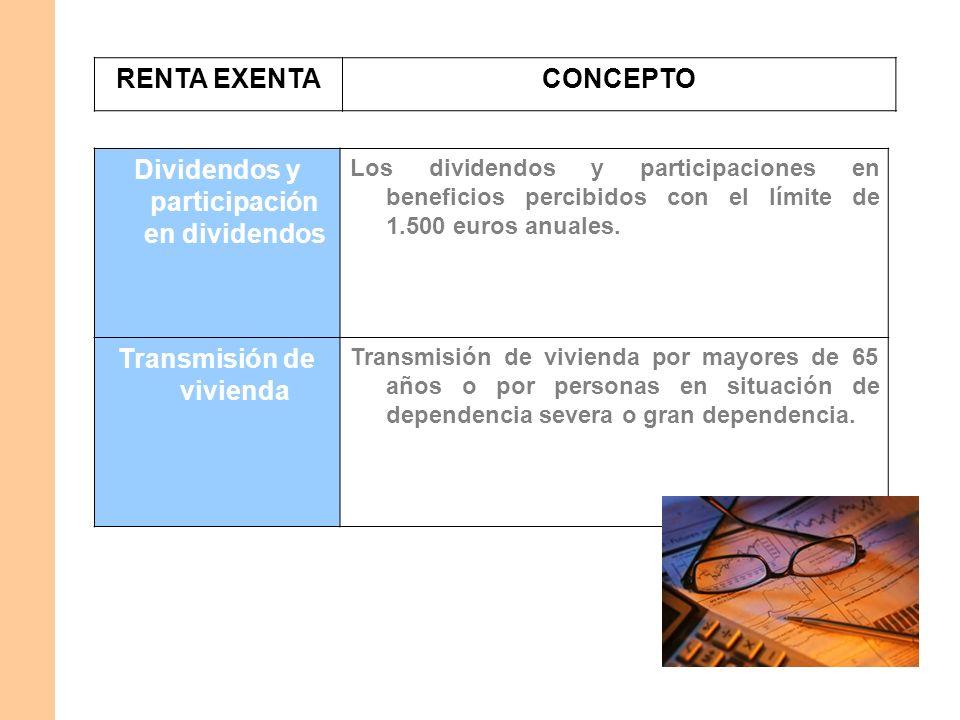 RENTA EXENTACONCEPTO Dividendos y participación en dividendos Los dividendos y participaciones en beneficios percibidos con el límite de 1.500 euros a
