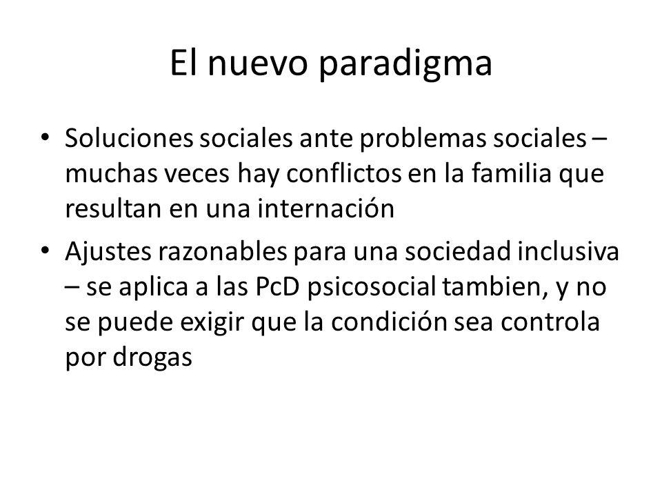 El nuevo paradigma Soluciones sociales ante problemas sociales – muchas veces hay conflictos en la familia que resultan en una internación Ajustes raz