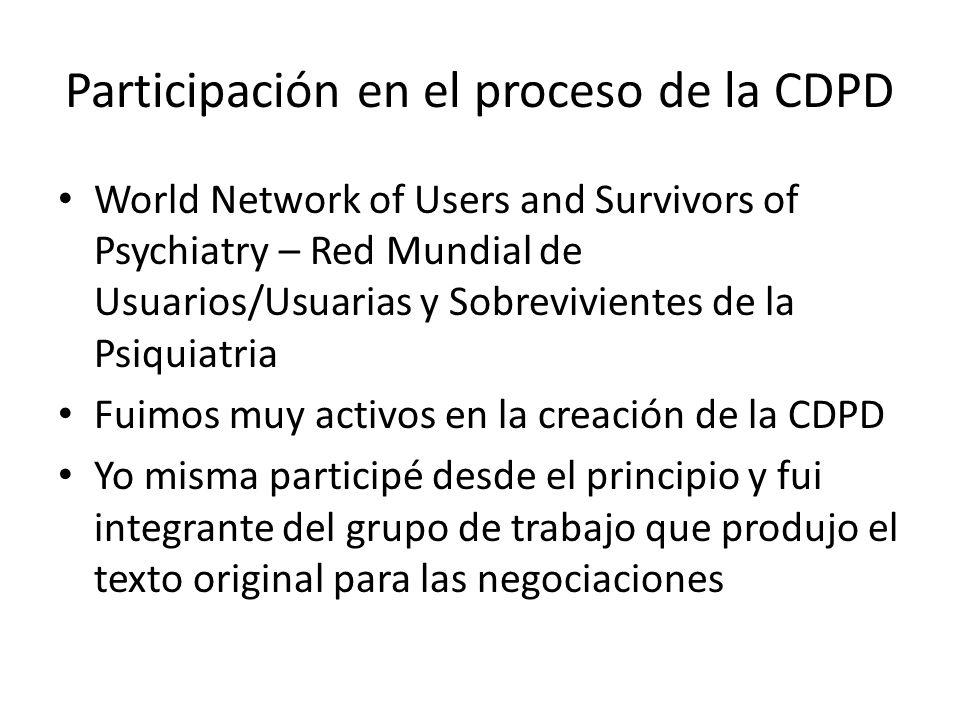 Participación en el proceso de la CDPD World Network of Users and Survivors of Psychiatry – Red Mundial de Usuarios/Usuarias y Sobrevivientes de la Ps