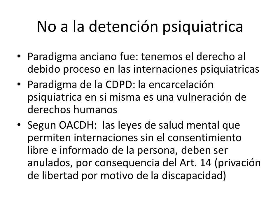 No a la detención psiquiatrica Paradigma anciano fue: tenemos el derecho al debido proceso en las internaciones psiquiatricas Paradigma de la CDPD: la