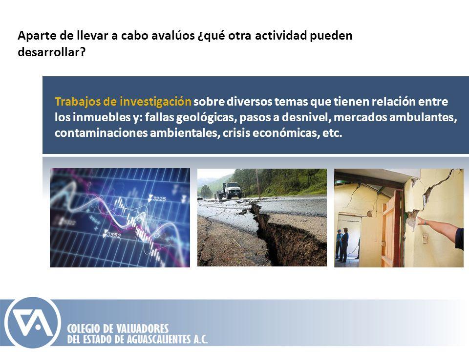 Trabajos de investigación sobre diversos temas que tienen relación entre los inmuebles y: fallas geológicas, pasos a desnivel, mercados ambulantes, co