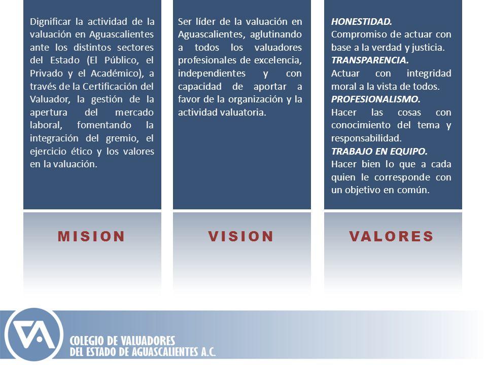 Dignificar la actividad de la valuación en Aguascalientes ante los distintos sectores del Estado (El Público, el Privado y el Académico), a través de