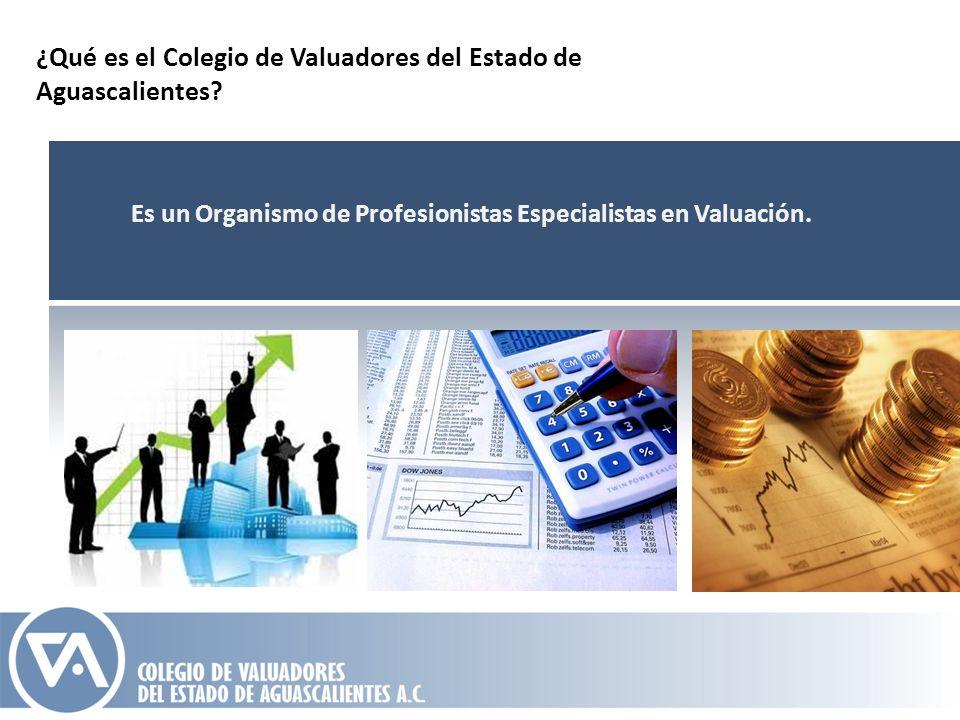 ¿Qué es el Colegio de Valuadores del Estado de Aguascalientes? Es un Organismo de Profesionistas Especialistas en Valuación.
