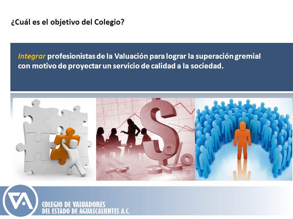 Integrar profesionistas de la Valuación para lograr la superación gremial con motivo de proyectar un servicio de calidad a la sociedad. ¿Cuál es el ob