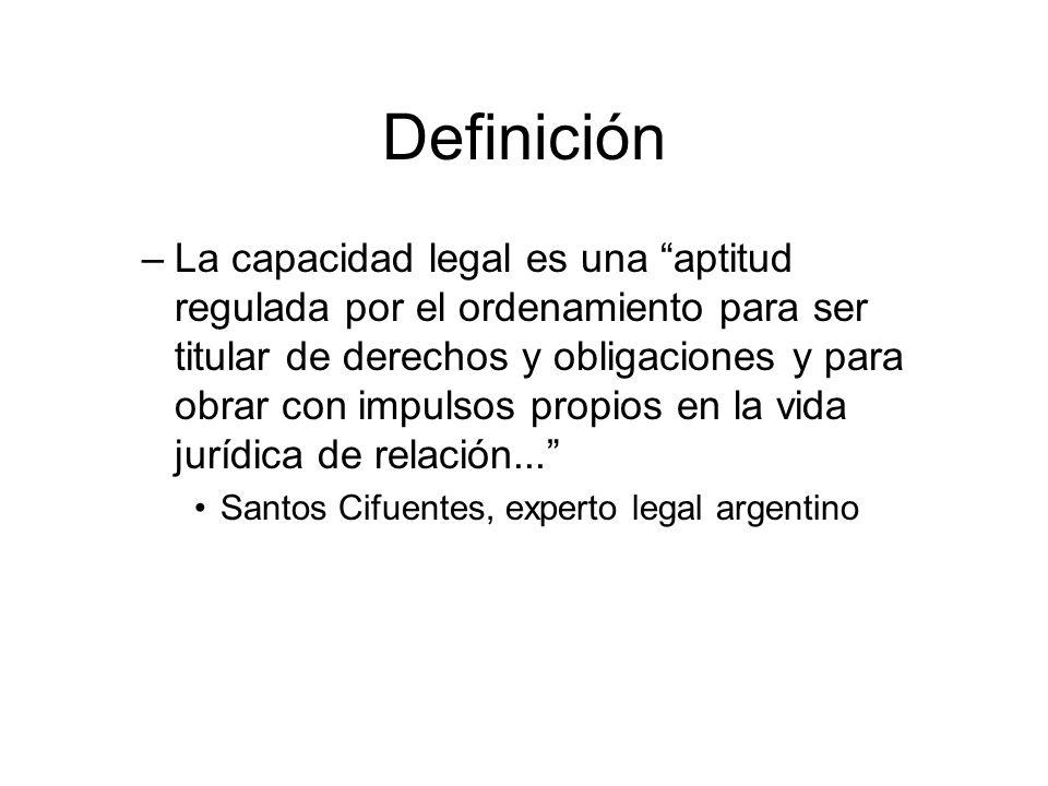 Definición –La capacidad legal es una aptitud regulada por el ordenamiento para ser titular de derechos y obligaciones y para obrar con impulsos propi