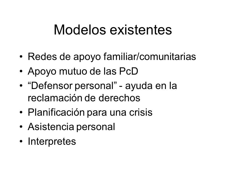 Modelos existentes Redes de apoyo familiar/comunitarias Apoyo mutuo de las PcD Defensor personal - ayuda en la reclamación de derechos Planificación p