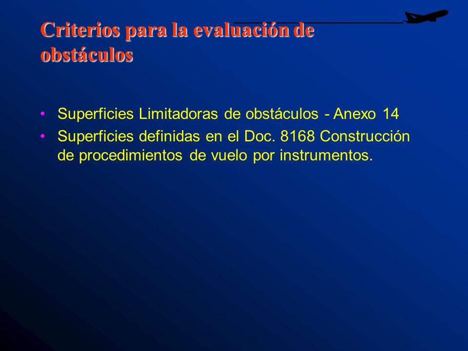 Criterios para la evaluación de obstáculos Superficies Limitadoras de obstáculos - Anexo 14 Superficies definidas en el Doc. 8168 Construcción de proc