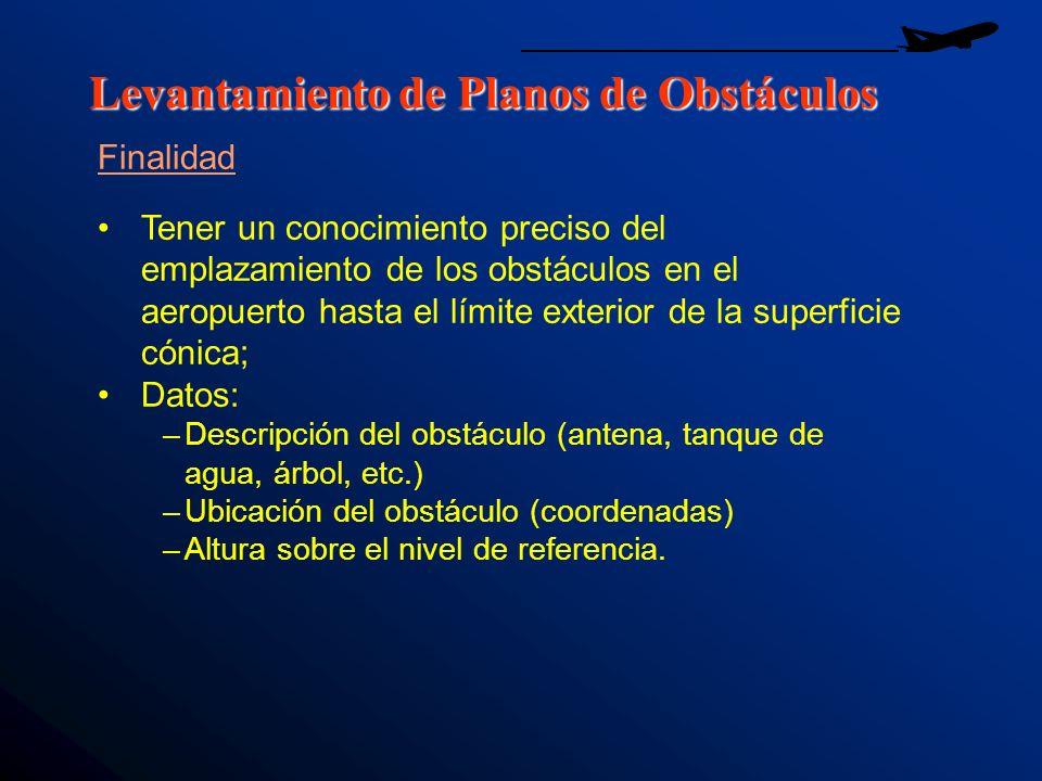 Levantamiento de Planos de Obstáculos Finalidad Tener un conocimiento preciso del emplazamiento de los obstáculos en el aeropuerto hasta el límite ext
