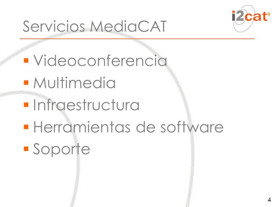 Servicios MediaCAT Videoconferencia Multimedia Infraestructura Herramientas de software Soporte 4