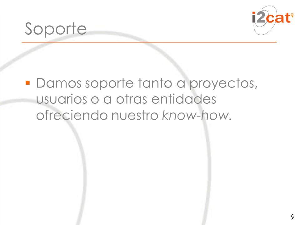 Soporte Damos soporte tanto a proyectos, usuarios o a otras entidades ofreciendo nuestro know-how.