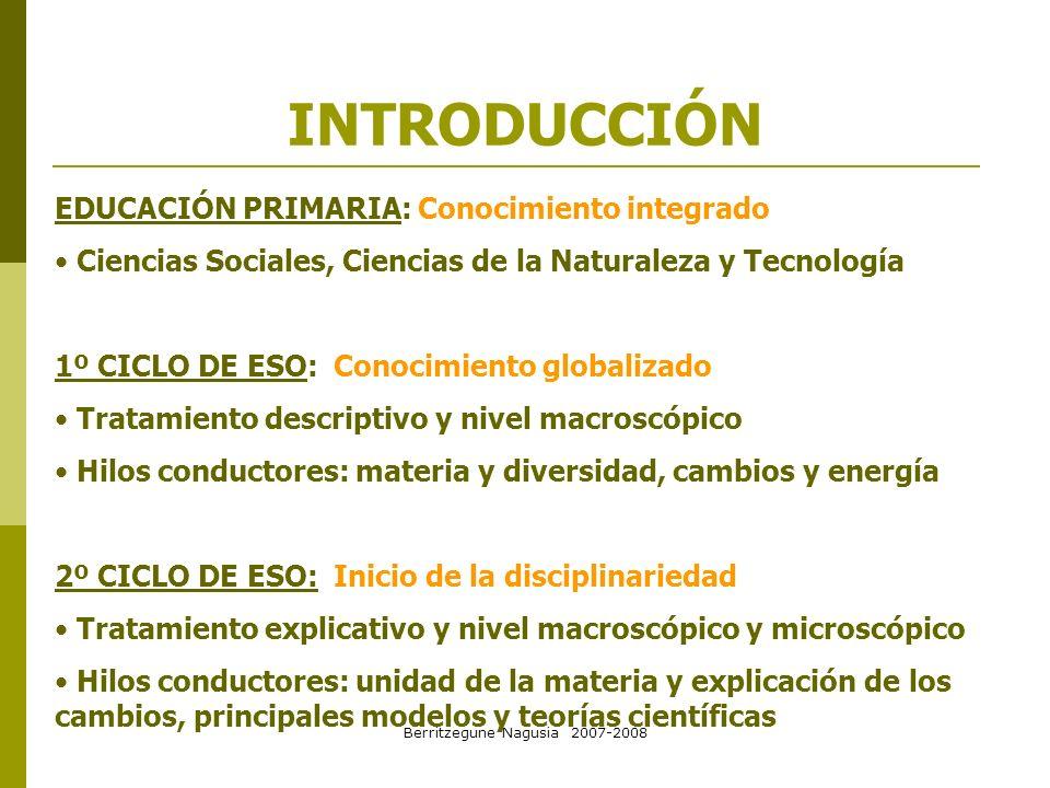 Berritzegune Nagusia 2007-2008 INTRODUCCIÓN EDUCACIÓN PRIMARIA: Conocimiento integrado Ciencias Sociales, Ciencias de la Naturaleza y Tecnología 1º CI