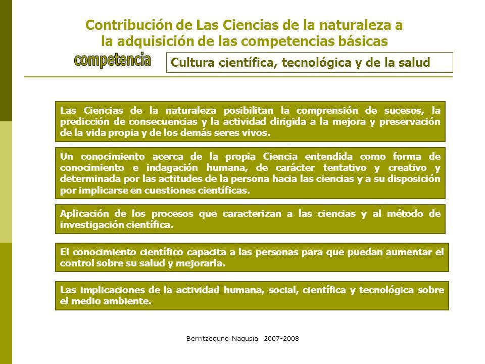 Berritzegune Nagusia 2007-2008 Cultura científica, tecnológica y de la salud Las Ciencias de la naturaleza posibilitan la comprensión de sucesos, la p