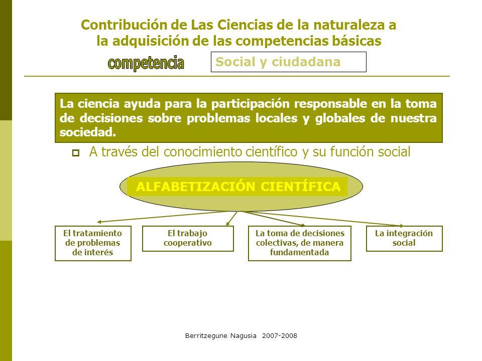 Berritzegune Nagusia 2007-2008 Social y ciudadana La ciencia ayuda para la participación responsable en la toma de decisiones sobre problemas locales