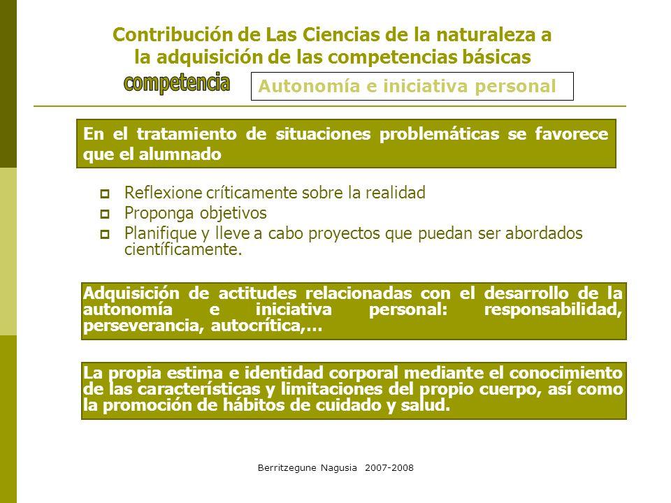 Berritzegune Nagusia 2007-2008 Autonomía e iniciativa personal En el tratamiento de situaciones problemáticas se favorece que el alumnado Contribución