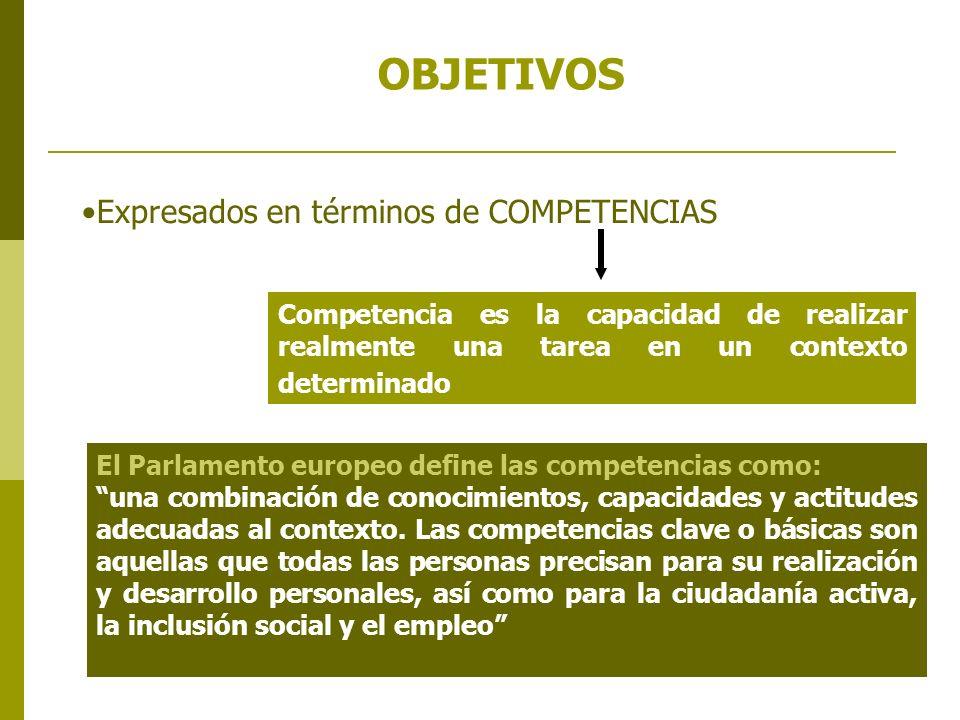 Berritzegune Nagusia 2007-2008 OBJETIVOS Expresados en términos de COMPETENCIAS Competencia es la capacidad de realizar realmente una tarea en un cont