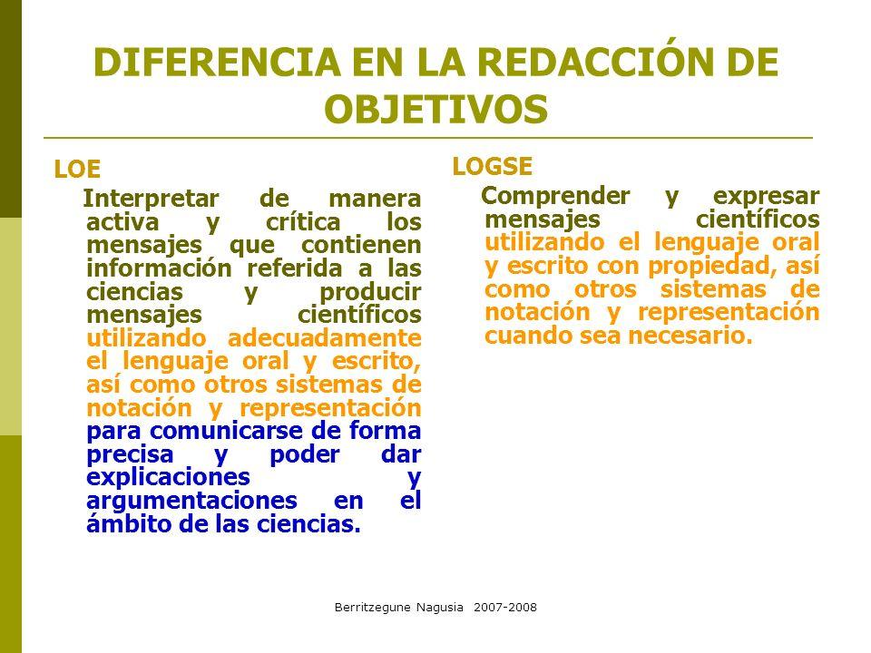 Berritzegune Nagusia 2007-2008 DIFERENCIA EN LA REDACCIÓN DE OBJETIVOS LOE Interpretar de manera activa y crítica los mensajes que contienen informaci