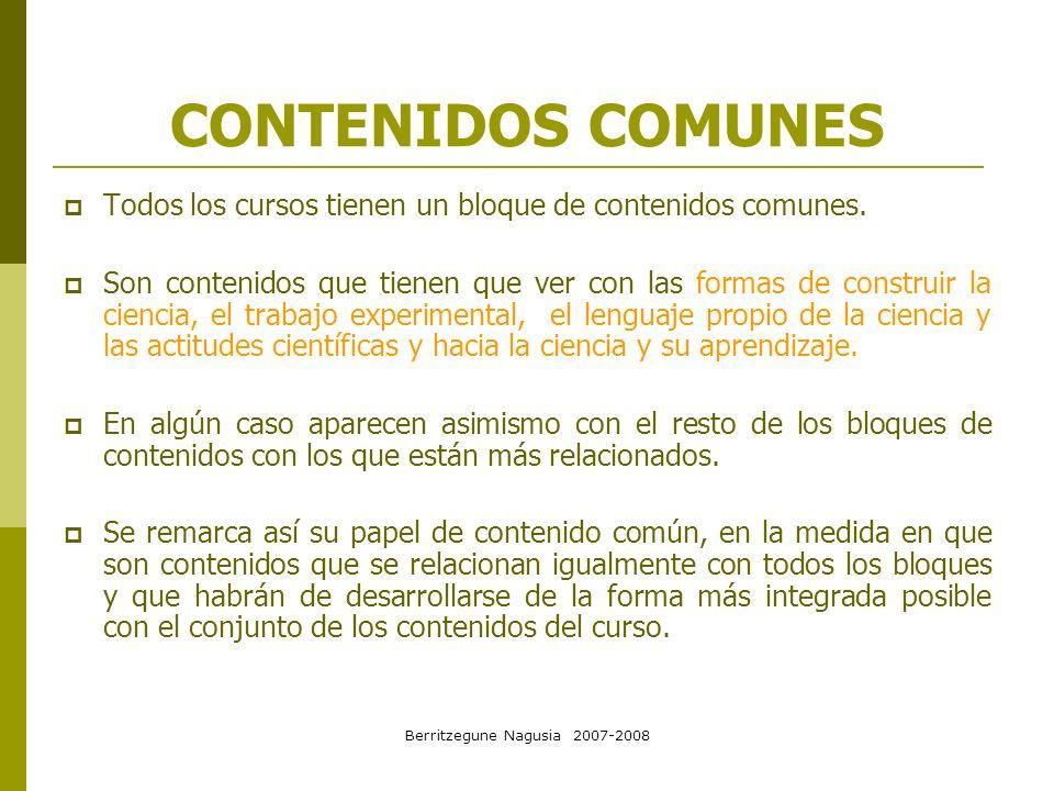 Berritzegune Nagusia 2007-2008 CONTENIDOS COMUNES Curso 1º: DIVERSIDAD DE LA MATERIA Criterios de observación de fenómenos naturales y situaciones reales.