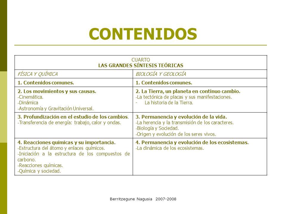 Berritzegune Nagusia 2007-2008 CONTENIDOS CUARTO LAS GRANDES SÍNTESIS TEÓRICAS FÍSICA Y QUÍMICABIOLOGÍA Y GEOLOGÍA 1. Contenidos comunes. 2. Los movim